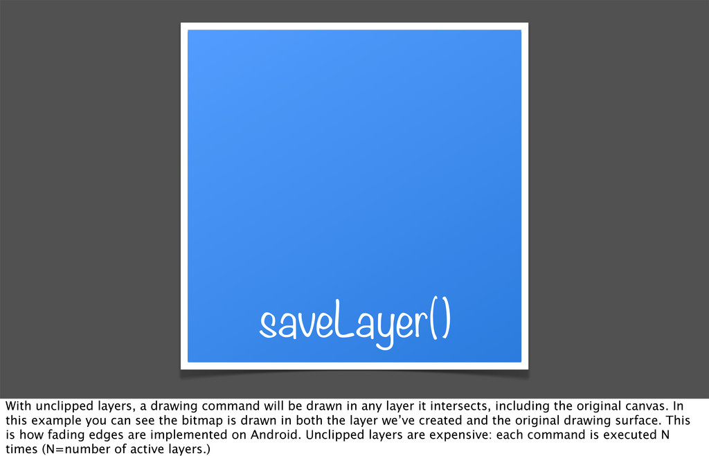 saveLayer() With unclipped layers, a drawing co...