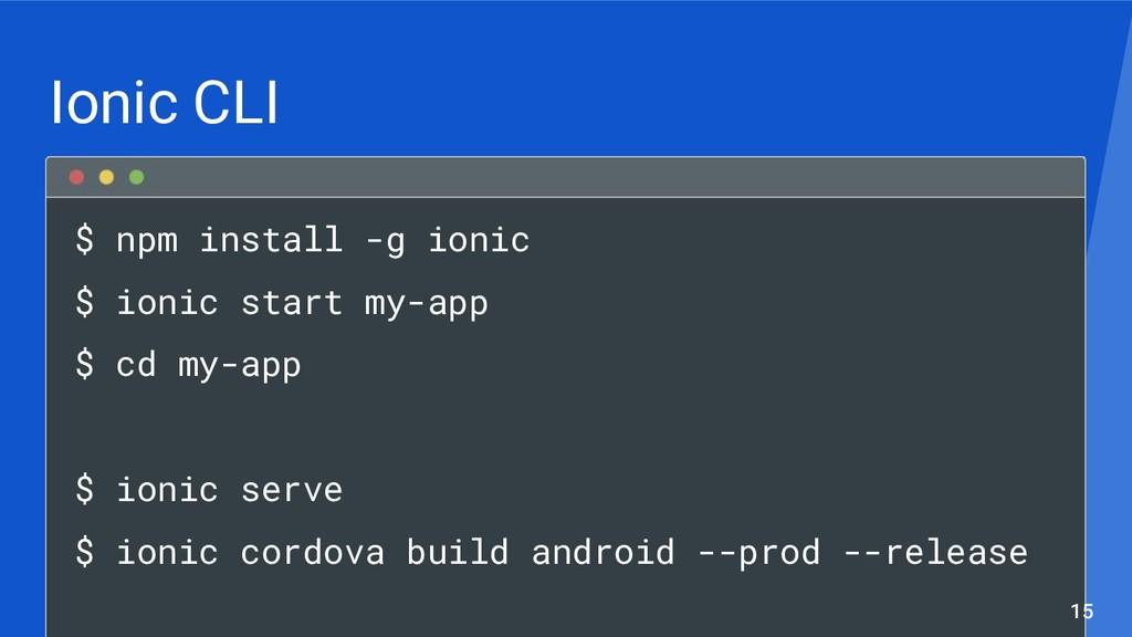 Ionic CLI $ npm install -g ionic $ ionic start ...