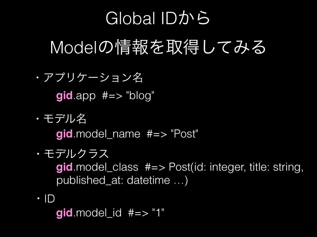 "Global ID͔Β ModelͷใΛऔಘͯ͠ΈΔ gid.app #=> ""blog"" ..."
