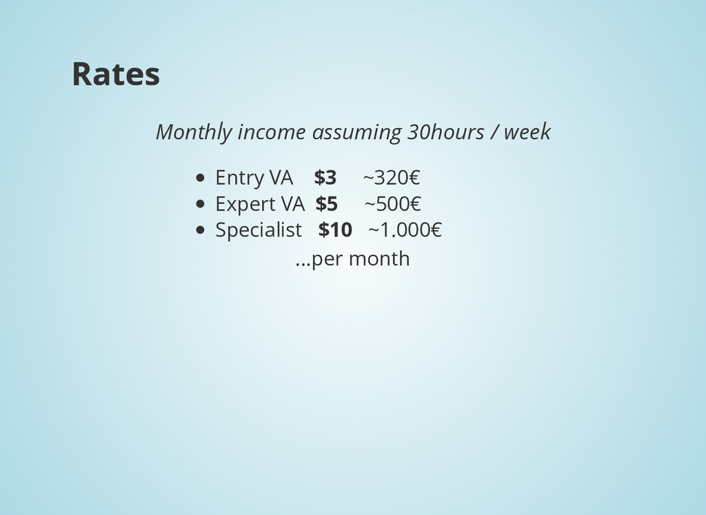 Rates Rates Monthly income assuming 30hours / w...