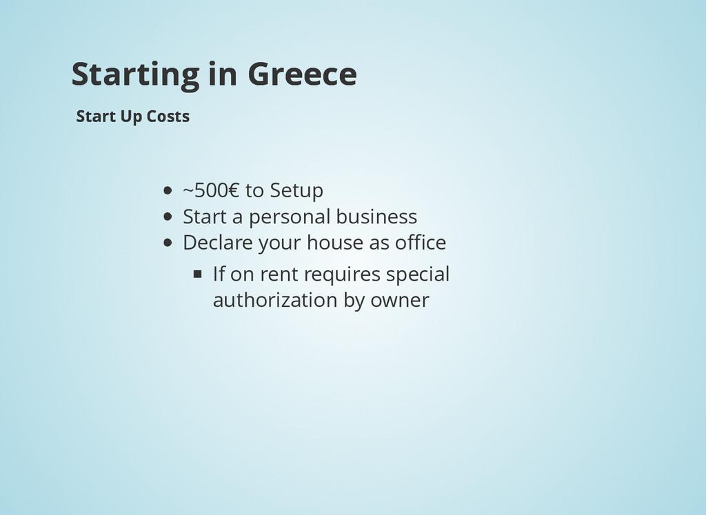 Starting in Greece Starting in Greece Start Up ...