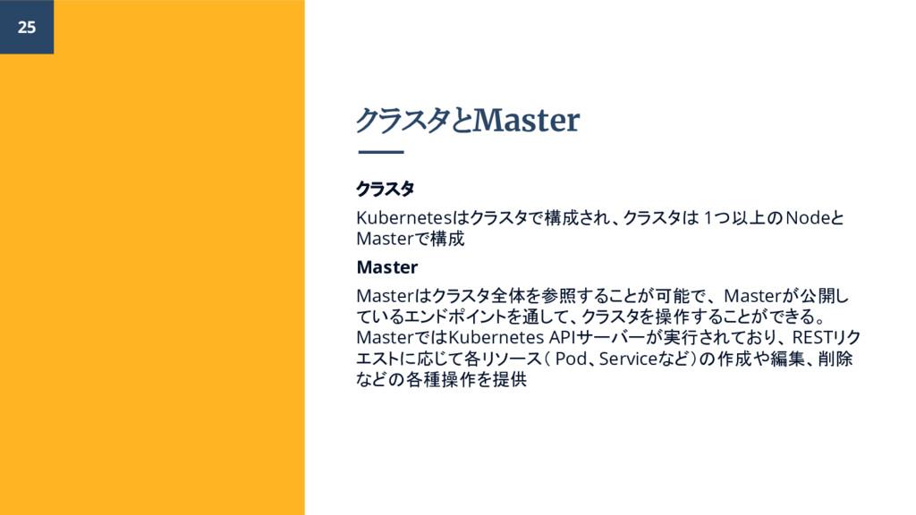 クラスタとMaster クラスタ Kubernetesはクラスタで構成され、クラスタは 1つ以...