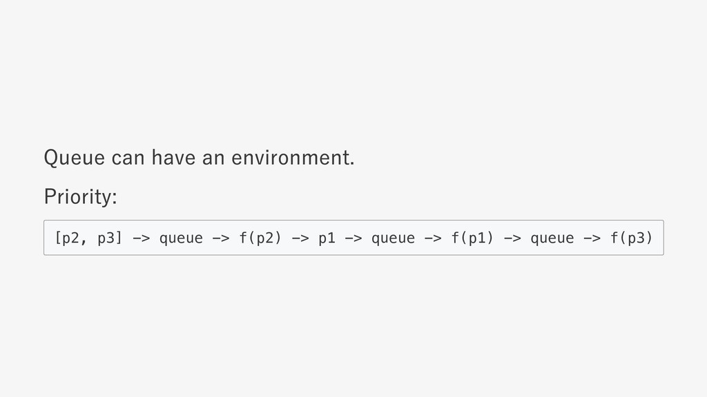 Queue can have an environment. Priority: [p2, p...