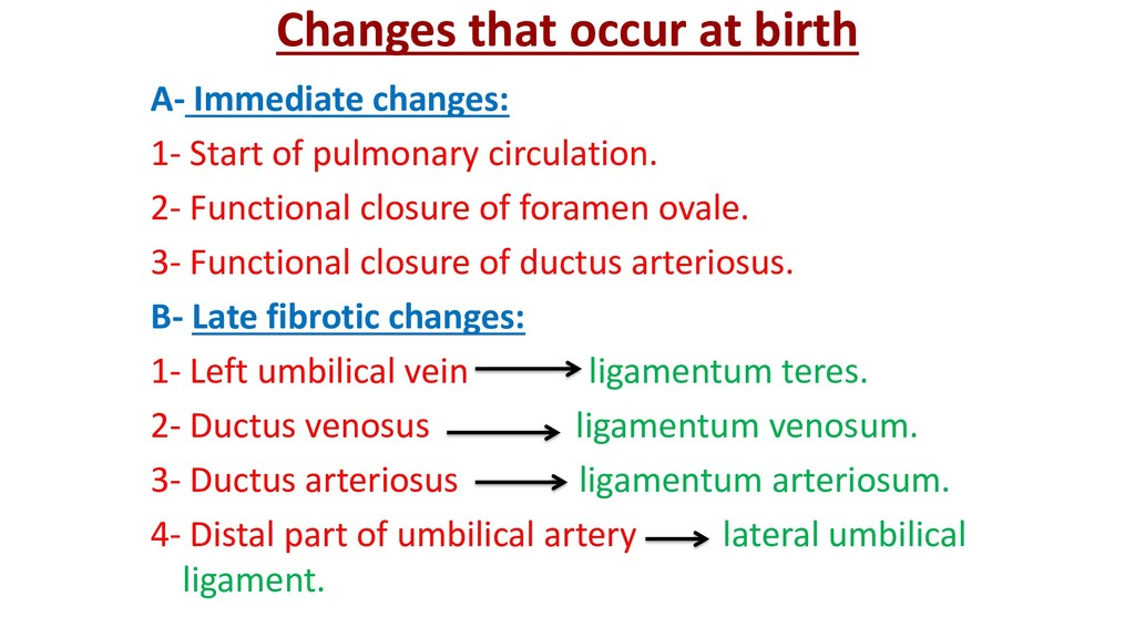 Changes that occur at birth A- Immediate change...