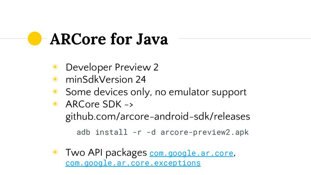 ARCore for Java ◉ Developer Preview 2 ◉ minSdkV...