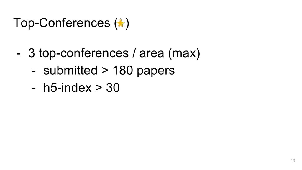 Top-Conferences ( ) - 3 top-conferences / area ...