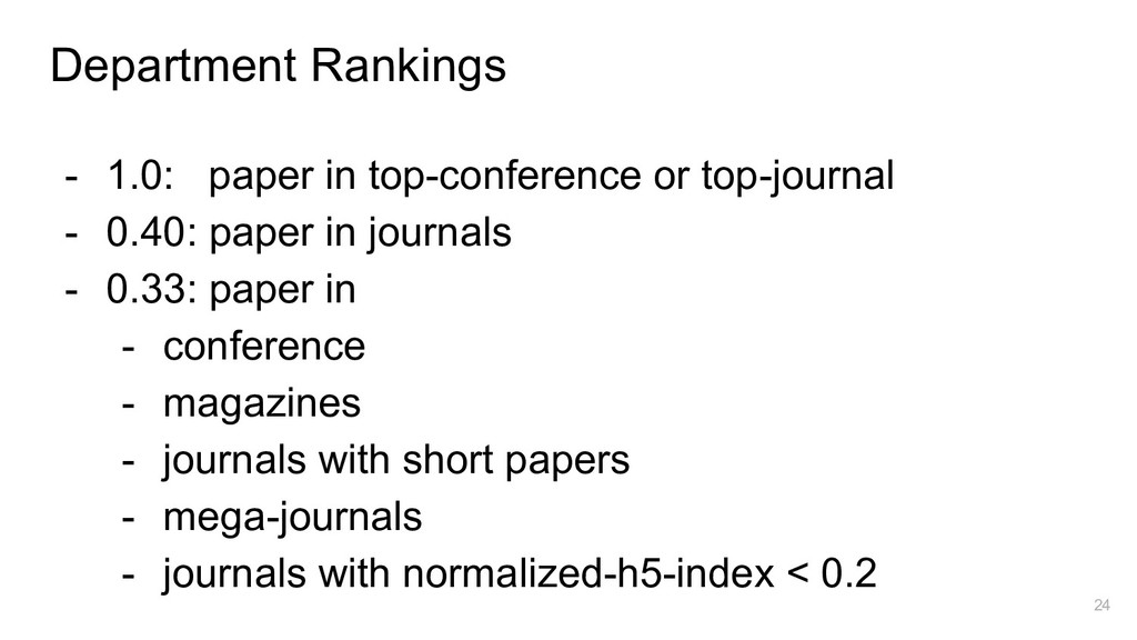 Department Rankings - 1.0: paper in top-confere...