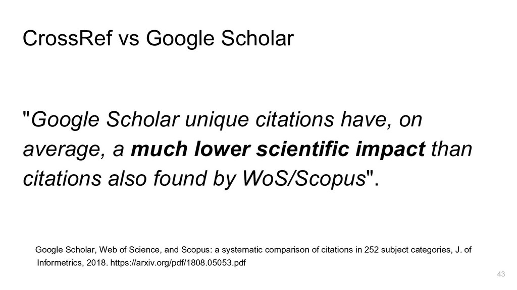 "CrossRef vs Google Scholar ""Google Scholar uniq..."