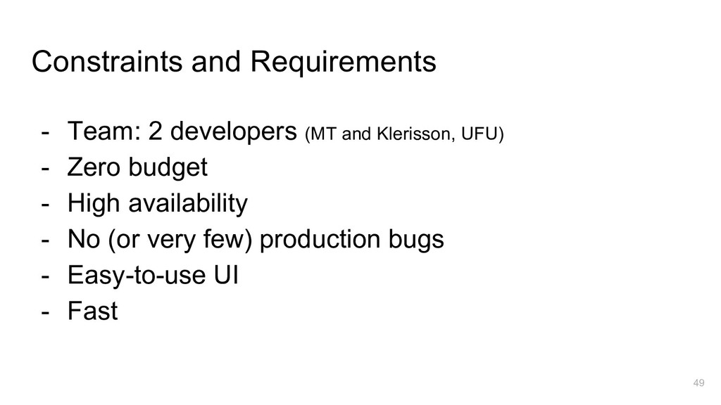 Constraints and Requirements - Team: 2 develope...