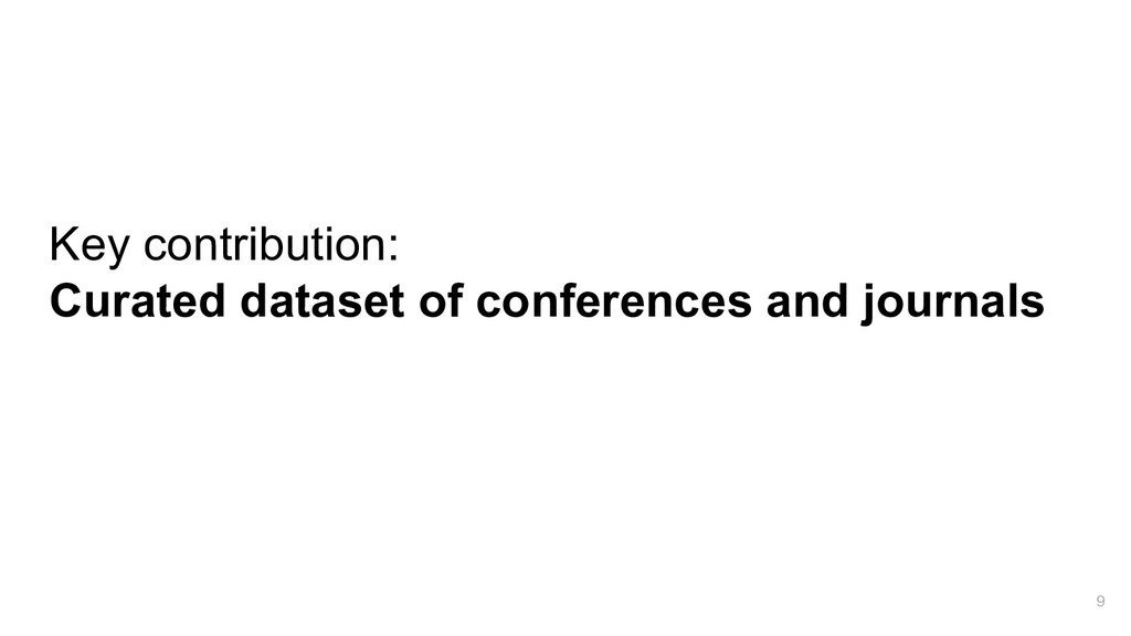 Key contribution: Curated dataset of conference...