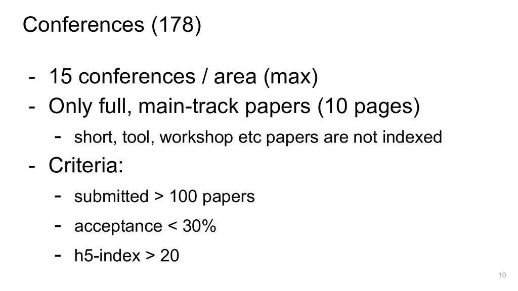 Conferences (178) - 15 conferences / area (max)...