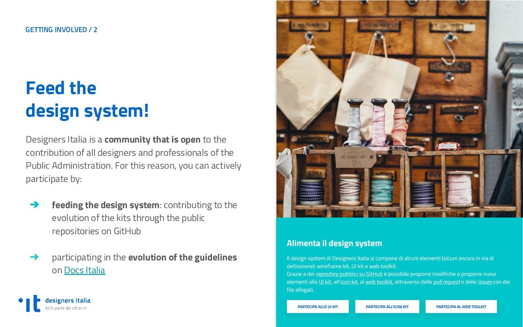 GETTING INVOLVED / 2 Feed the design system! De...