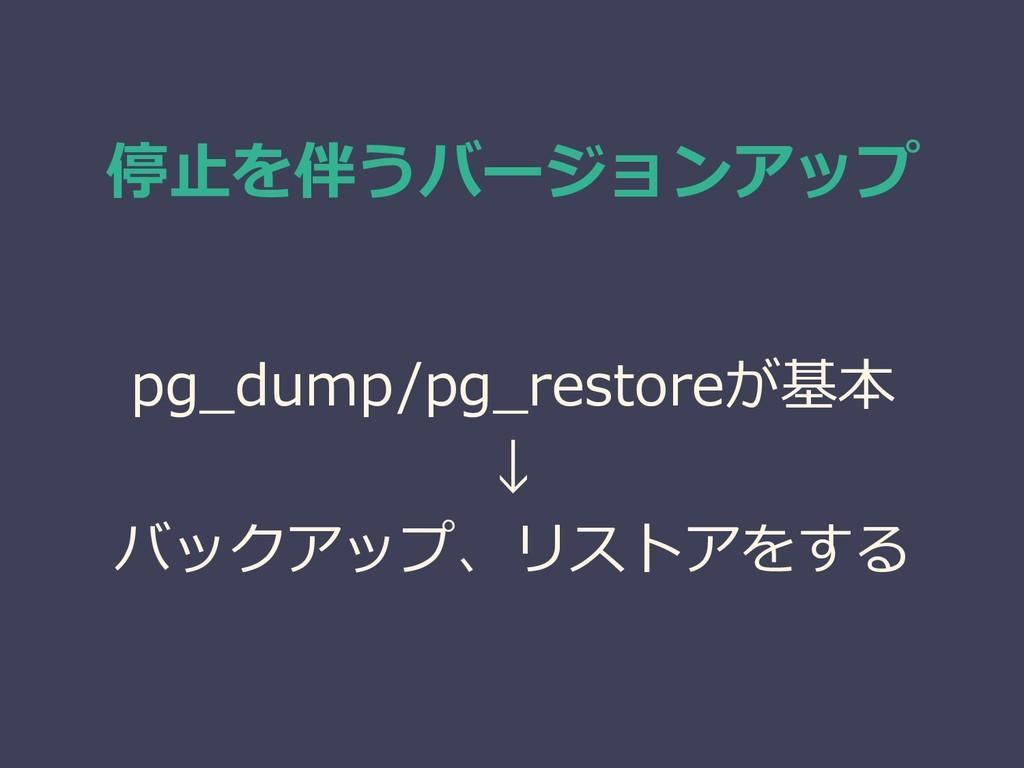 停止を伴うバージョンアップ pg_dump/pg_restoreが基本 ↓ バックアップ、リス...