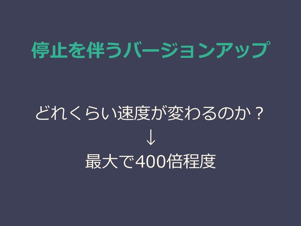 停止を伴うバージョンアップ どれくらい速度が変わるのか? ↓ 最大で400倍程度