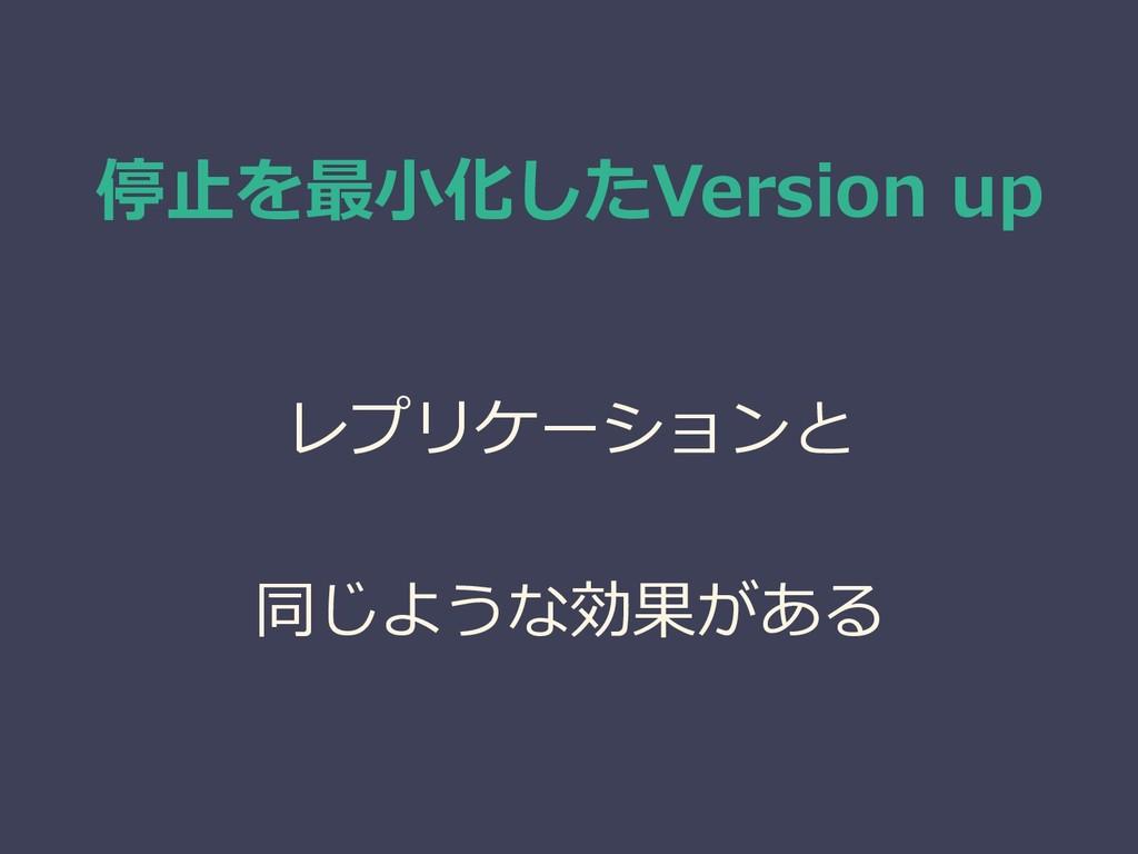 停止を最小化したVersion up レプリケーションと 同じような効果がある