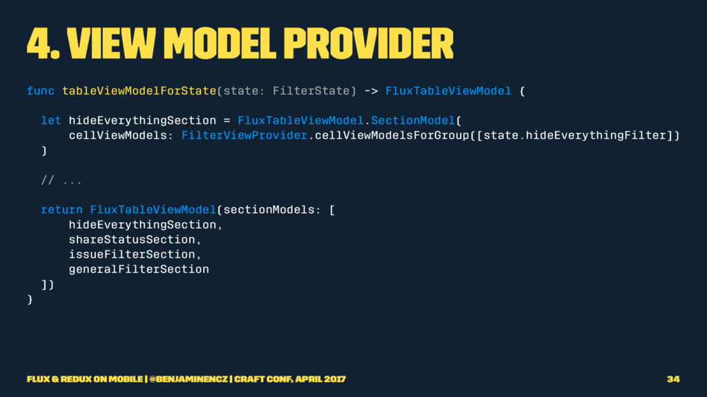 4. View Model Provider func tableViewModelForSt...