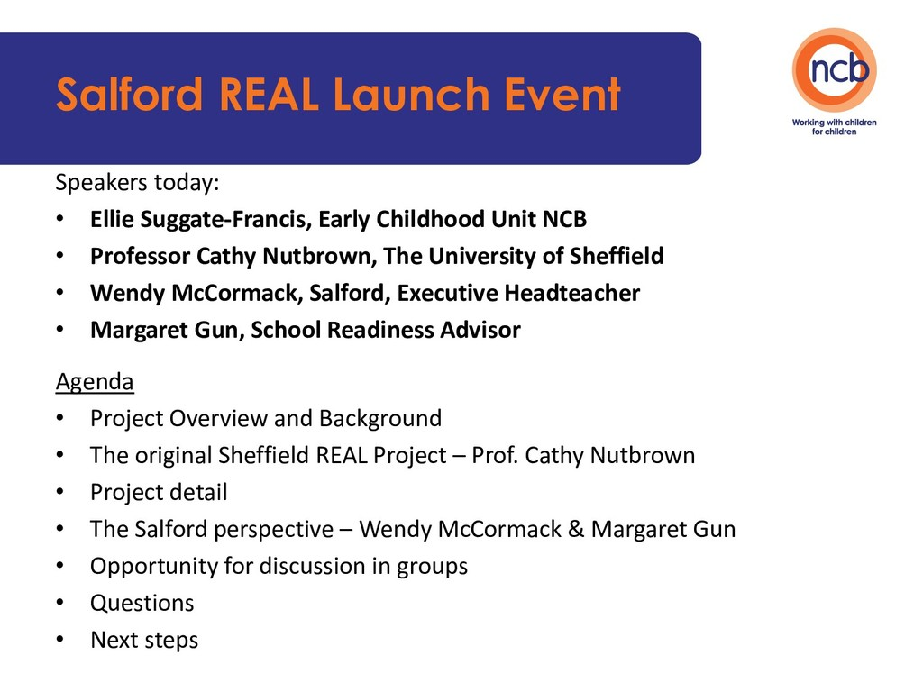 Salford REAL Launch Event Speakers today: • Ell...