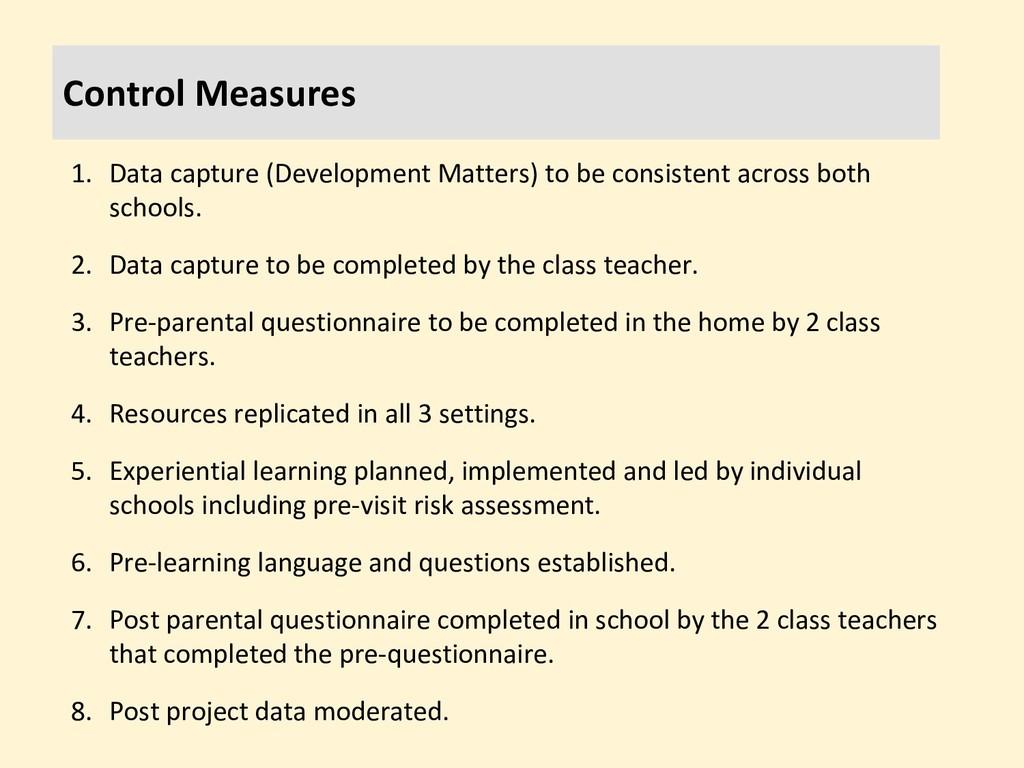 Control Measures 1. Data capture (Development M...