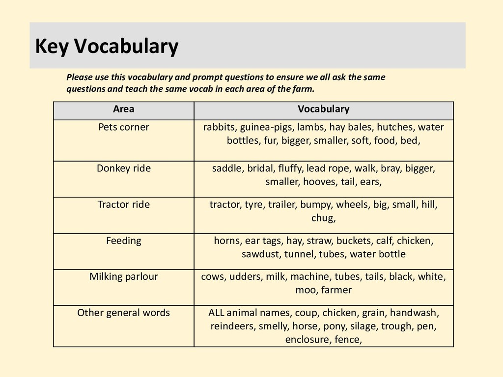 Key Vocabulary Area Vocabulary Pets corner rabb...
