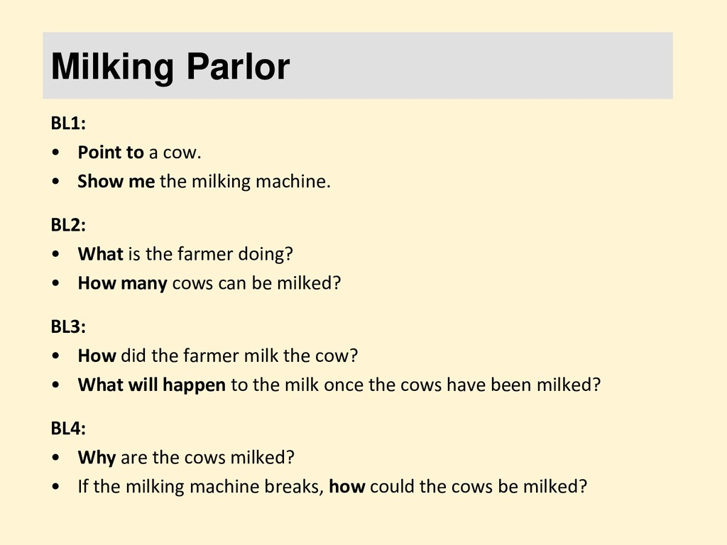 Milking Parlor BL1: • Point to a cow. • Show me...
