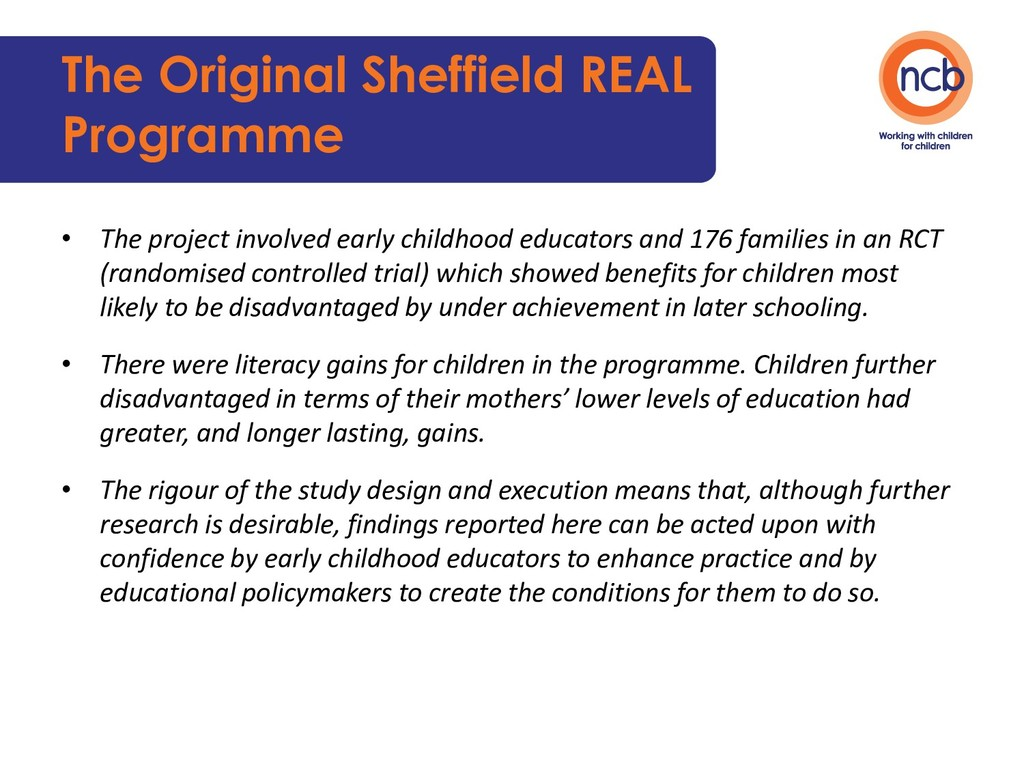 The Original Sheffield REAL Programme • The pro...