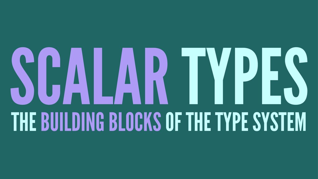 SCALAR TYPES THE BUILDING BLOCKS OF THE TYPE SY...
