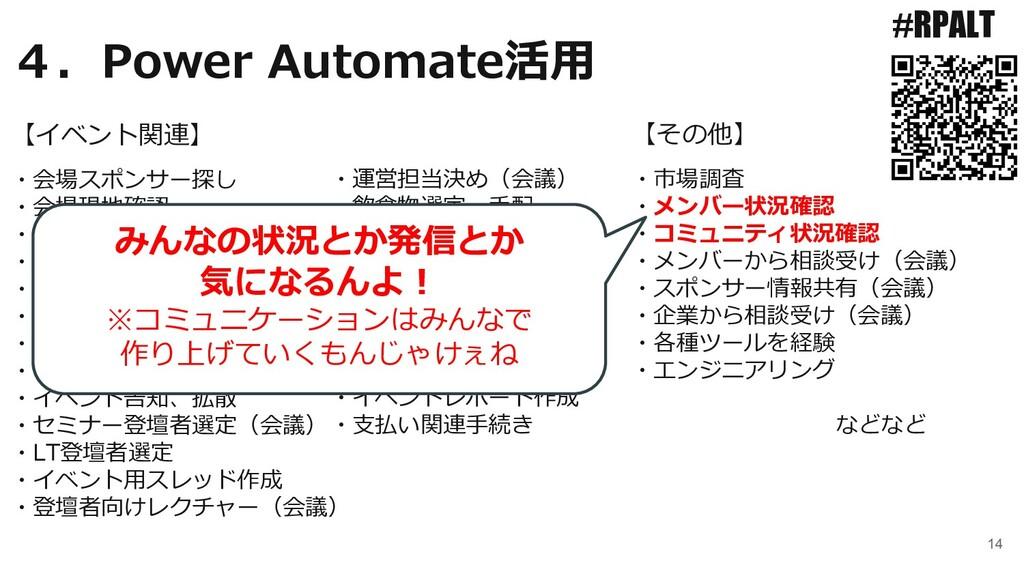 14 #RPALT ・会場スポンサー探し ・会場現地確認 ・懇親会スポンサー探し ・スポンサー...