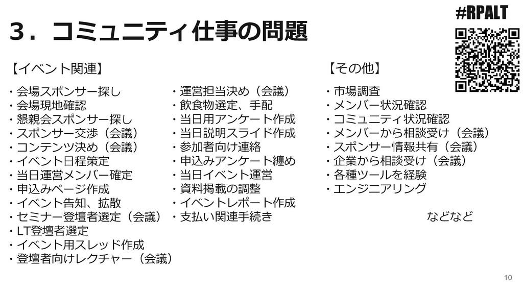 10 3.コミュニティ仕事の問題 #RPALT ・会場スポンサー探し ・会場現地確認 ・懇親会...