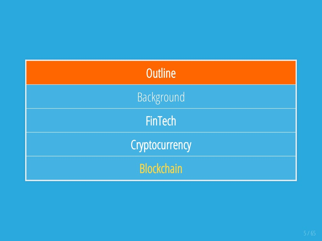 Outline Background FinTech Cryptocurrency Block...