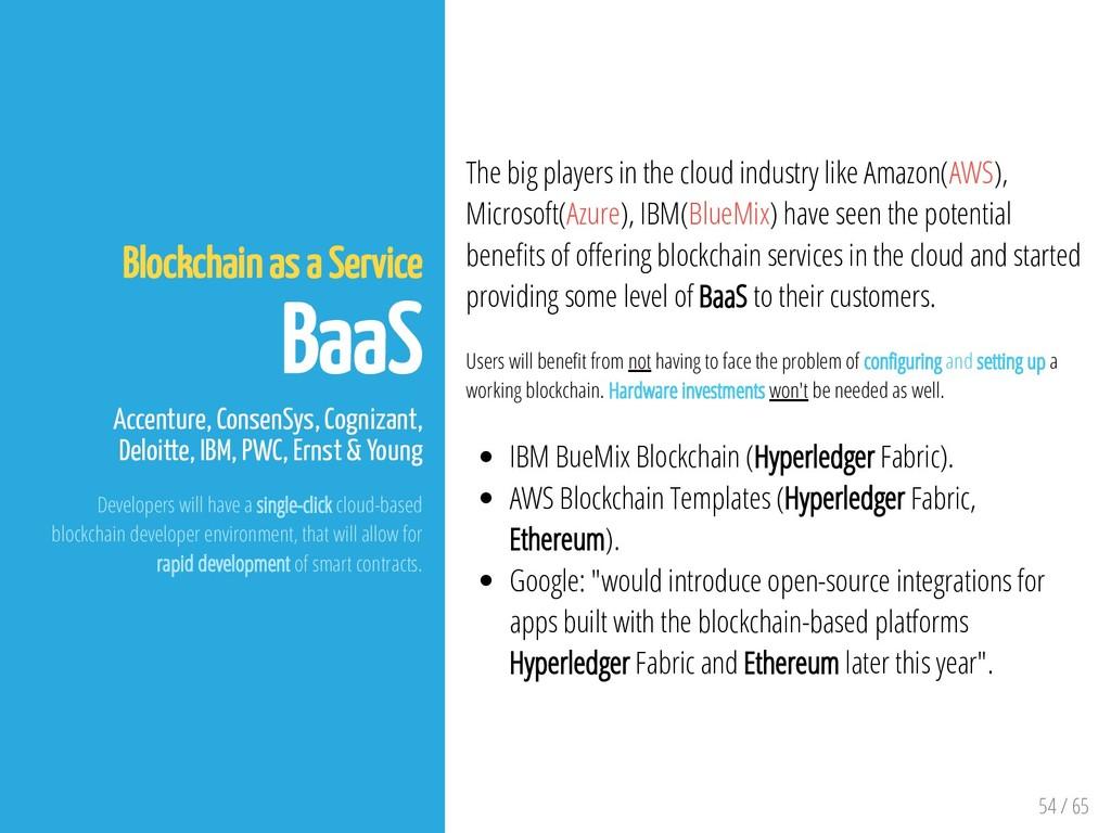 54 / 65 Blockchain as a Service BaaS Accenture,...