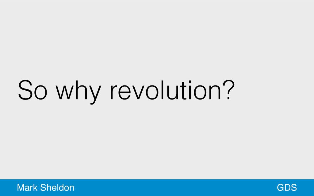 GDS Mark Sheldon So why revolution?