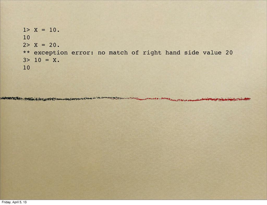 1> X = 10. 10 2> X = 20. ** exception error: no...