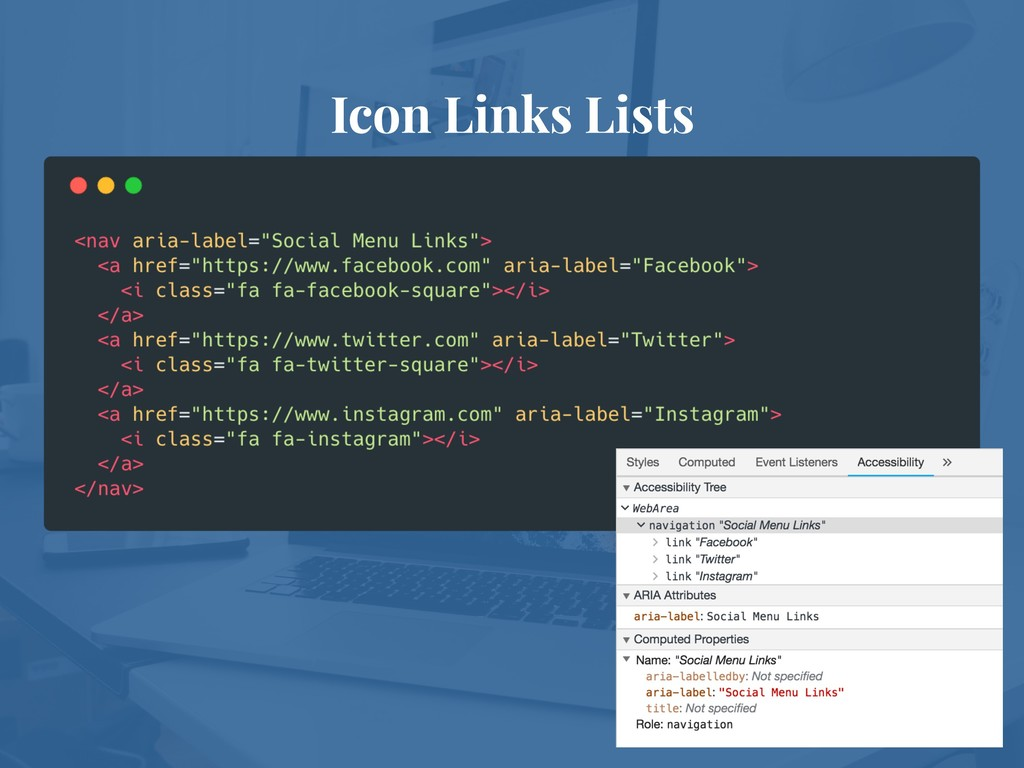 Icon Links Lists
