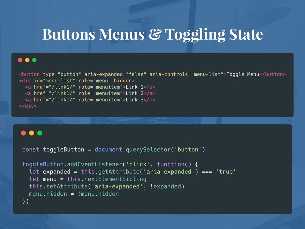 Buttons Menus & Toggling State