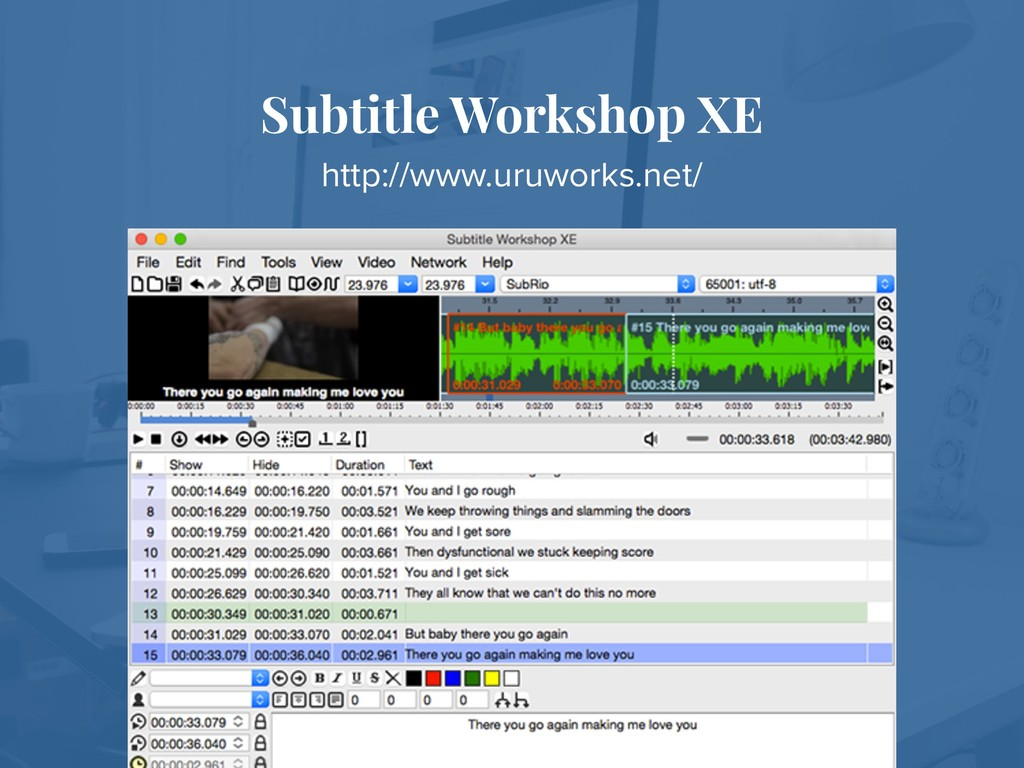 Subtitle Workshop XE http://www.uruworks.net/