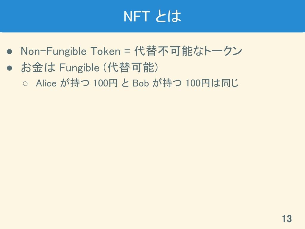 NFT とは ● Non-Fungible Token = 代替不可能なトークン ● お金...