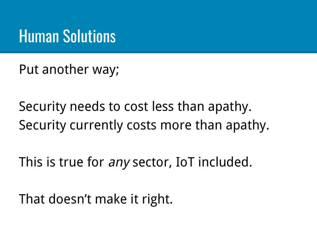 Human Solutions Put another way; Security needs...