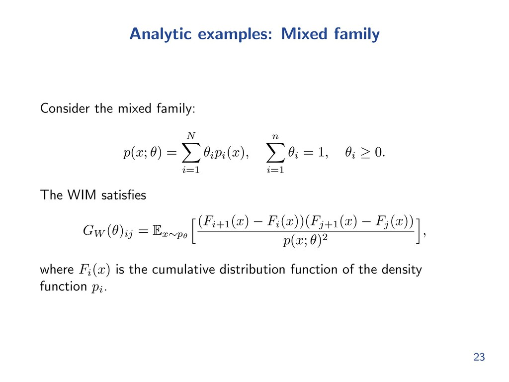 Analytic examples: Mixed family Consider the mi...