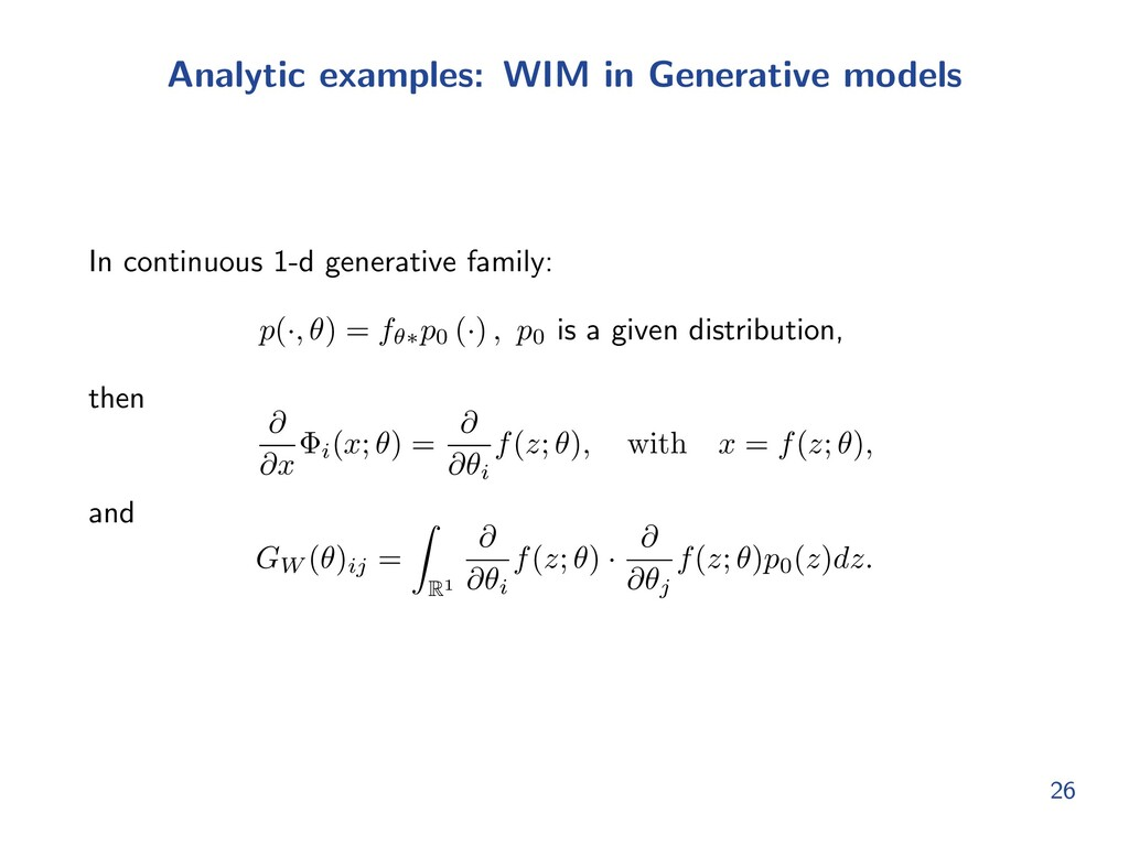 Analytic examples: WIM in Generative models In ...