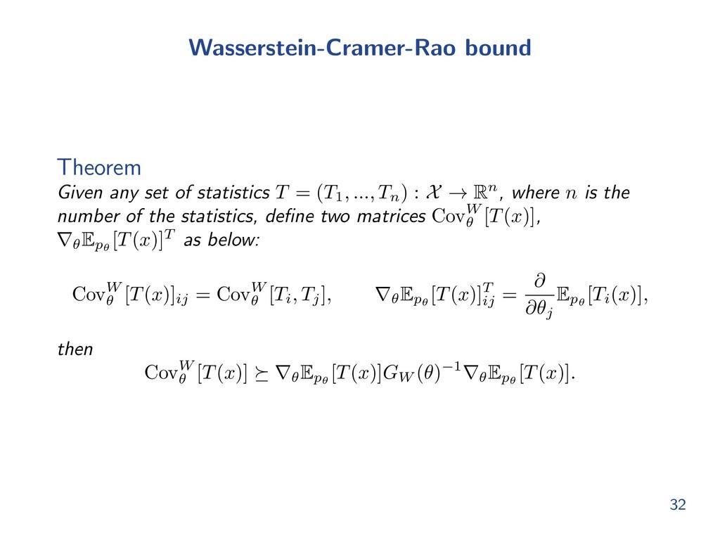 Wasserstein-Cramer-Rao bound Theorem Given any ...