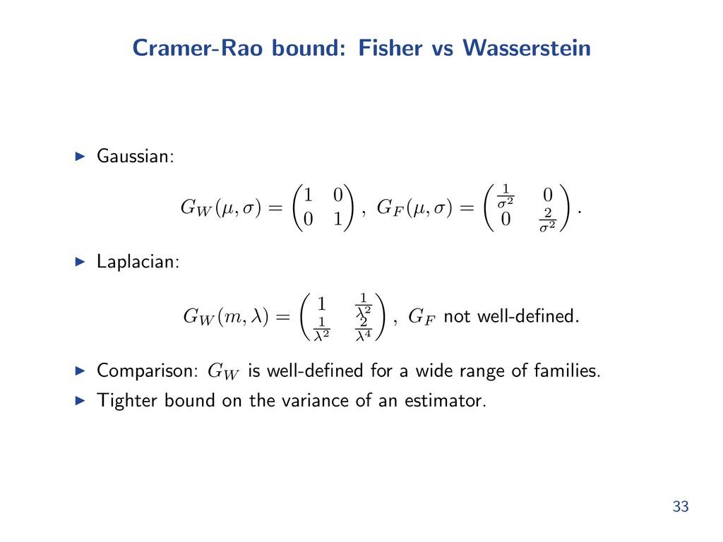 Cramer-Rao bound: Fisher vs Wasserstein I Gauss...
