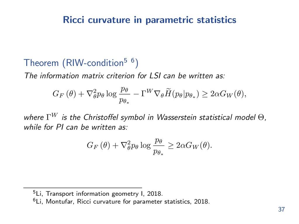 Ricci curvature in parametric statistics Theore...