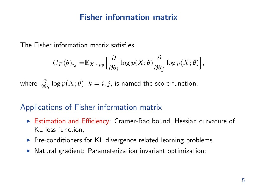 Fisher information matrix The Fisher informatio...