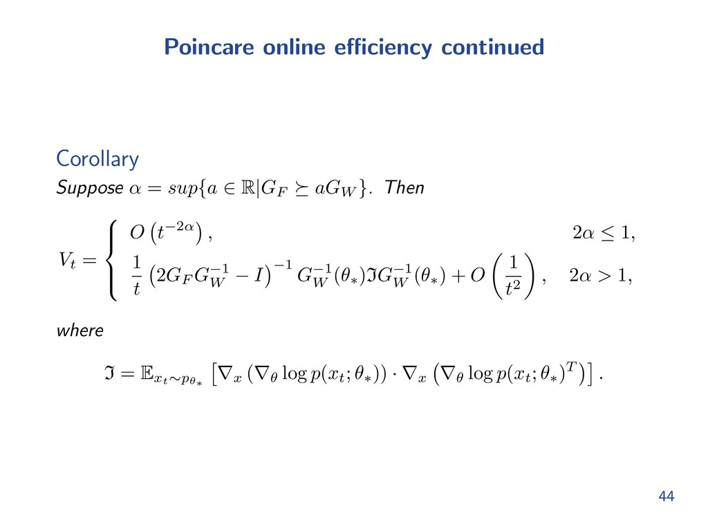 Poincare online e ciency continued Corollary Su...