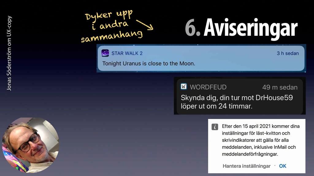 Jonas Söderström om UX-copy 6. Aviseringar Dyke...