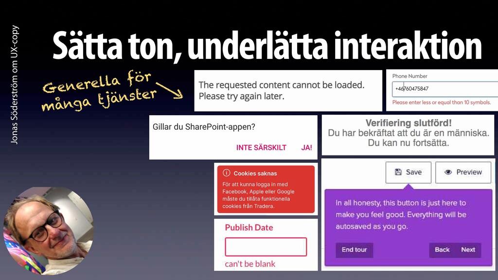 Jonas Söderström om UX-copy Sätta ton, underlät...