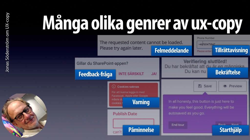 Jonas Söderström om UX-copy Många olika genrer ...