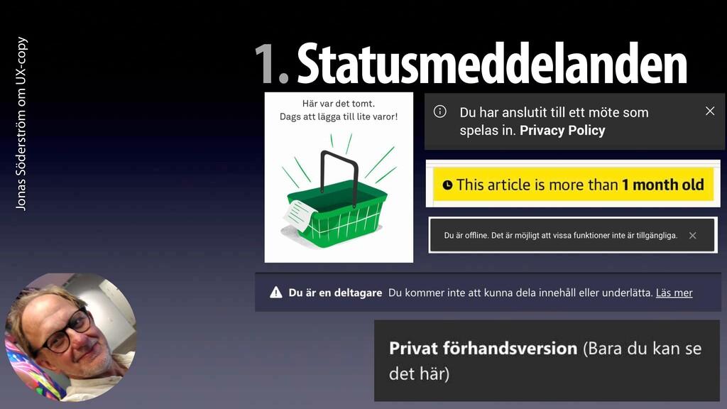 Jonas Söderström om UX-copy 1. Statusmeddelanden