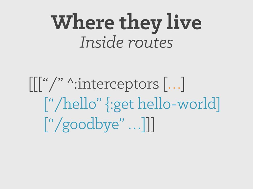 """[[[""""/"""" ^:interceptors […] [""""/hello"""" {:get hello..."""