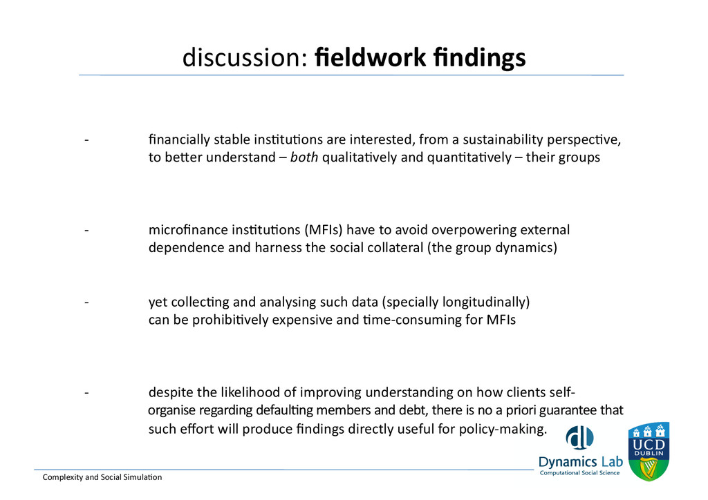 discussion: fieldwork findings   Complex...
